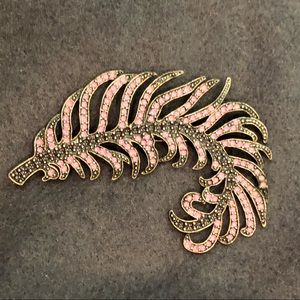 Vintage 3 inch pink inlaid enamel feather pin